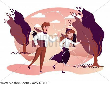 Man And Woman Running In Storm Windy Weather In Autumn Park Isolated Scene. Couple Hurries Home In S