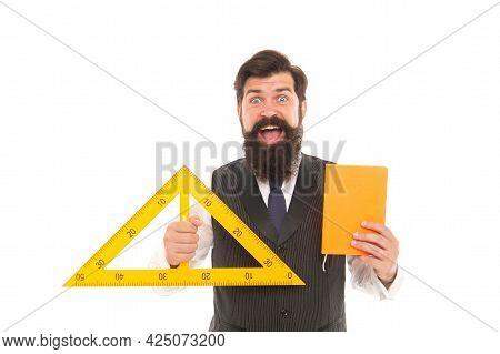 Science Technology Engineering And Mathematics. Measurement Tool. Teacher Bearded Man. Teaching Geom