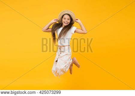 Energetic Cheerful Active Child Enjoy Vacation. Summer Vacation Outfit. Teen Girl Summer Fashion. Be