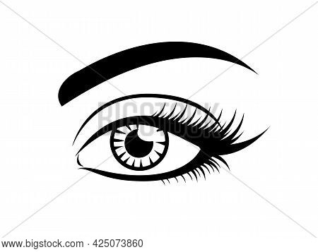 Long Eyelashes Icon, Black Vector On White. Female Eye Glamour Icon. With Brow.