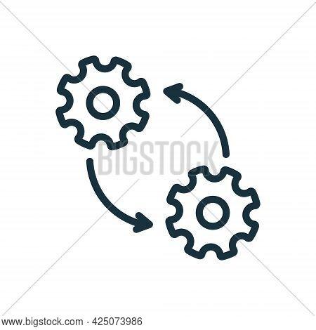 Cog Wheel In Process Line Icon. Circular Arrow, Cogwheel, Operation. Gear Linear Pictogram. Editable