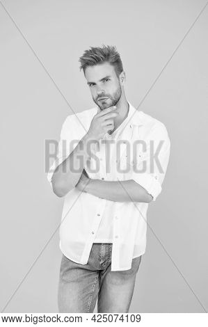 Confident In His Choice. Handsome Man Wear White Tshirt And Posing In Studio. Casually Handsome. Cas