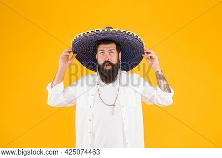 Mexican Man Wearing Sombrero. Guy In Wide Brim Hat. Ethnic Concept. Discover Ethnic And Geographic O