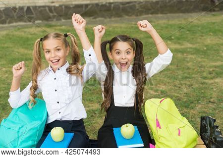 Education Is Power When Selecting Food For Health. Happy Kids Take Snack Break. Nutrition And Health