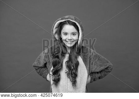 Warm And Cozy. Happy Child Feel Cozy In Pajamas. Small Girl In Cozy Wear. Home Clothing For Comfort.
