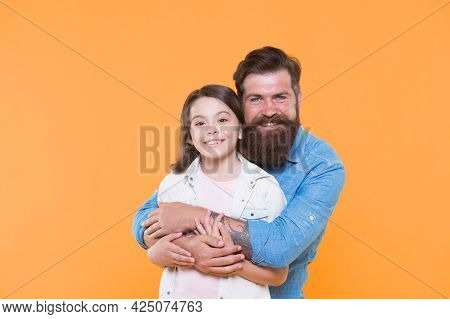 Strong Friendship. Father And Daughter Together. Child And Father Best Friends. Parenthood And Child