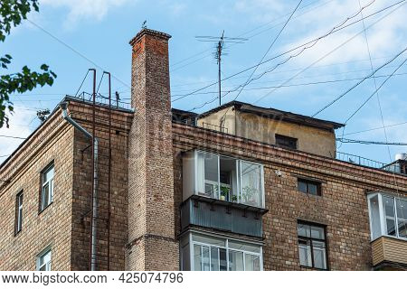Moscow, Russia, August 20, 2019 - A Fragment Of A Typical Apartment Building In Moscow Built In The