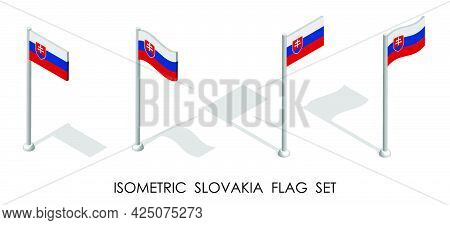 Isometric Flag Of Slovakia In Static Position And In Motion On Flagpole. 3d Vector