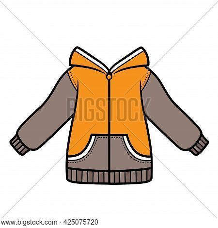 Sweatshirt With A Hood Zipped For Boy Color Variation For Coloring On White Background