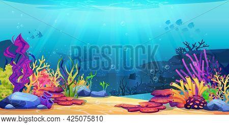 Coral Reef Underwater World With Marine Animals Silhouettes And Algae Seaweeds, Sea Bottom Cartoon B