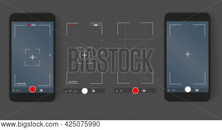 Phone Camera Video And Photo Screen Settings. Digital Camera Interface. A Set Of Templates For A Sma