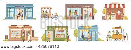 Small Business People And Building Set, Shops And Stores, Cafe And Barbershop, Buyers And Vendors, C
