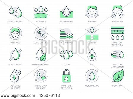 Cosmetic Properties Line Icons. Vector Illustration Include Icon - Cream, Body Lotion, Lifting, Mois