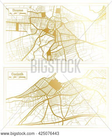 Corinth and Drama Greece City Map Set in Retro Style in Golden Color. Outline Map.