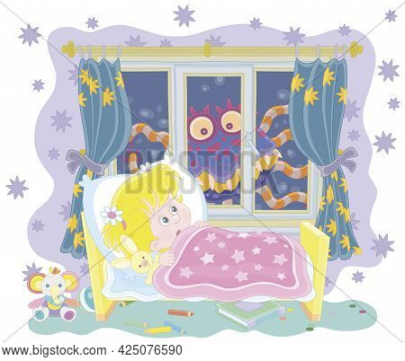 Little Girl Having A Terrible Nightmare In Her Dream With A Creepy Creature Crawling At Dark Night O