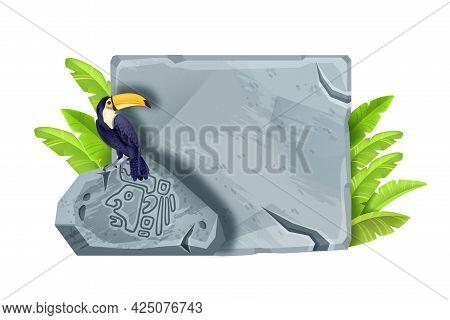 Game Stone Sign Board, Vector Cracked Rectangle Cartoon Block, Maya Ancient Boulder, Aztec Symbol. J