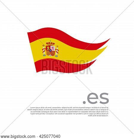 Spain Flag. Colored Stripes Spanish Flag On A White Background. Vector Design Of National Poster Wit