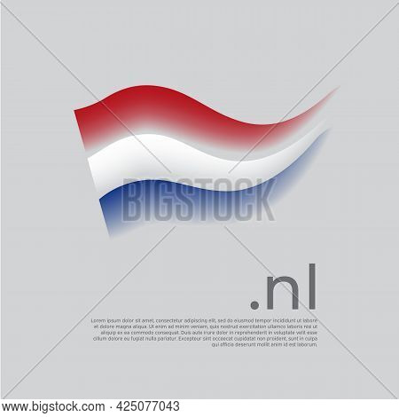 Netherlands Flag. Holland Flag Colors Stripes On White Background. Vector Stylized National Poster D
