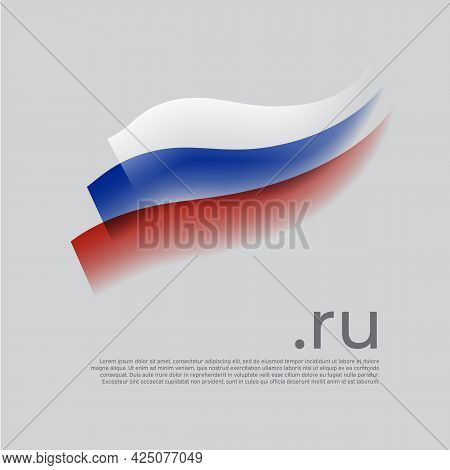 Russia Flag Watercolor. Colored Stripes Russian Flag On A White Background. Vector Stylized Design O