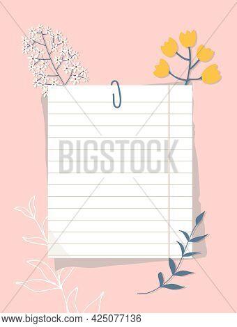 Sheets Of Paper Linked With A Paper Clip On A Pink Background. A Ruled Paper Sheet, сolorful Flowers