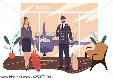 Airport Web Concept. Aircraft Crew Is Preparing For Flight. Stewardess And Pilot Standing With Their