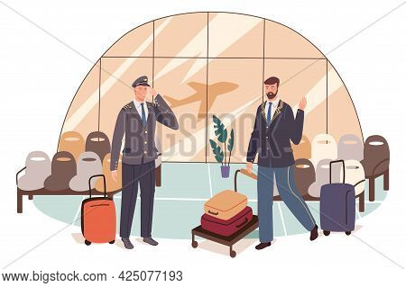 Airport Web Concept. Pilot Is Preparing For Flight. Captain Of Plane With Luggage And Waiting Hall W