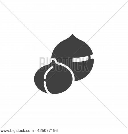 Macadamia Nut Vector Icon. Filled Flat Sign For Mobile Concept And Web Design. Macadamia Shell Glyph