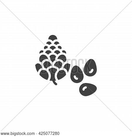Pine Nut Seed Vector Icon. Filled Flat Sign For Mobile Concept And Web Design. Pine Tree Nut Glyph I
