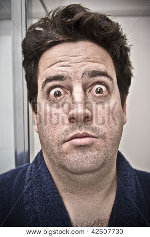Man Surprised At His Own Face