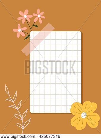 A Sheet Of Checkered Paper Taped To Wall. Note Paper, Colorful Flowers, Flower Outlines On A Ginger