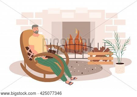 Modern Comfortable Interior Of Living Room Web Concept. Man Reading Book Sitting In Rocking Chair In