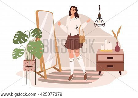 Modern Comfortable Interior Of Dressing Room Web Concept. Woman Stands Of Mirror Choosing Outfit In