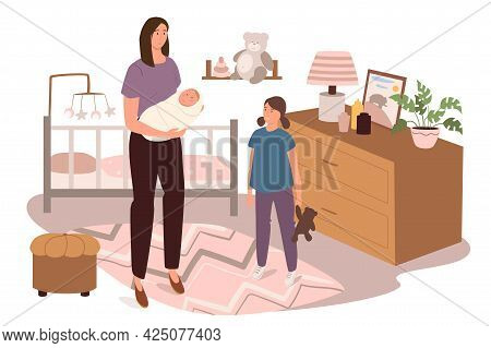 Modern Comfortable Interior Of Children Bedroom Web Concept. Mom With Newborn And Daughter Are In Ro