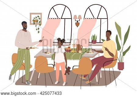 Modern Comfortable Interior Of Dining Room Web Concept. Family Having Dinner Sitting At Table In Roo