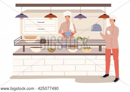 Restaurant Staff In Kitchen Web Concept. Chef Places Ready Meals On Counter, Waiter Carries Orders T