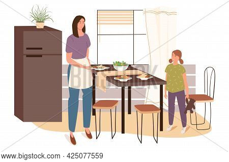 Woman Cooks At Home Kitchen Web Concept. Mom In Apron Sets The Table With Homemade Dishes, Daughter