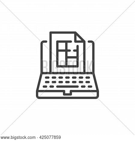 Online Floor Plan Line Icon. Linear Style Sign For Mobile Concept And Web Design. Computer With Blue