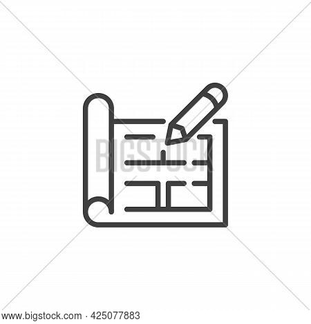 Blueprint Plan Line Icon. Linear Style Sign For Mobile Concept And Web Design. Home Floor Plan Outli