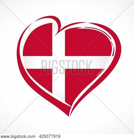 Love Denmark Emblem With Heart In Flag Colors. Danish National Holiday 5 June 1849, Vector Greetings
