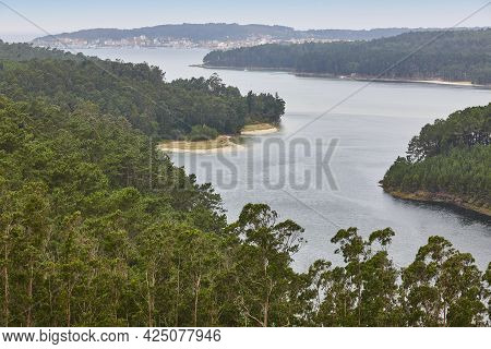 Landscape In Galicia With Forest And Estuary. Camarinas Village. Spain