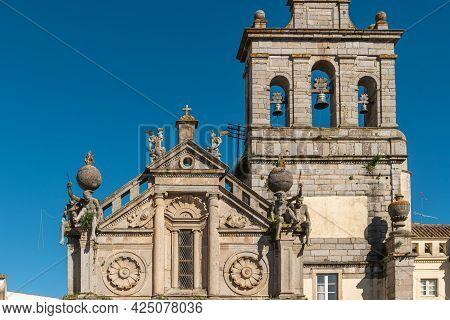 Facade Of The Igreja Da Graca Church Of Evora. Alentejo Portugal.