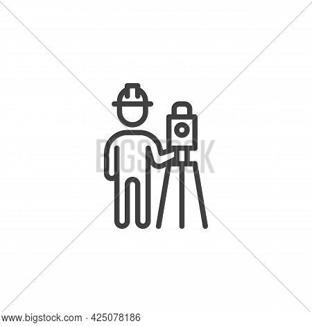Surveyor Engineer Line Icon. Linear Style Sign For Mobile Concept And Web Design. Building Surveyor