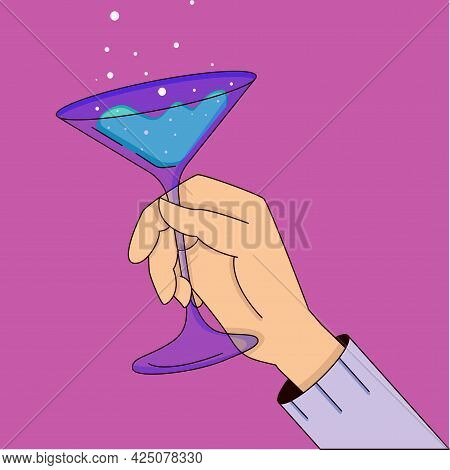 Illustration Of Celebration, Hand With Glass Of Cocktail, Drinking Alcohol Cocktails. Cartoon Vector