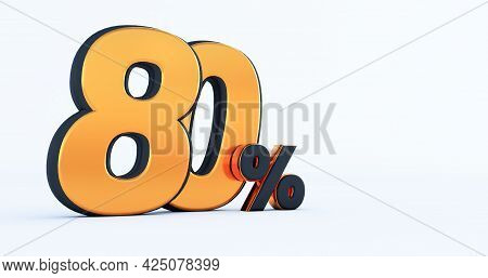 3d Render Of Discount Eighty 80 Percent Off Isolated On White Background