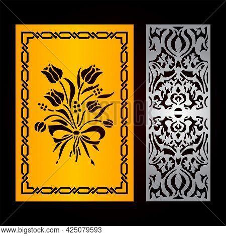 Laser Cut Flower Door Pattern Design, Cnc Cutting Template