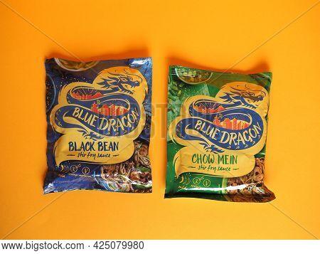 London - Circa June 2021: Blue Dragon Packets Of Black Bean And