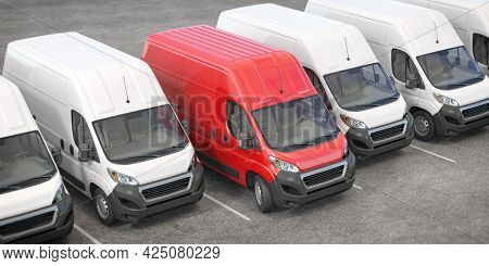Red delivery van in a row of white vans. Best express delivery and shipemt service concept. 3d illustration