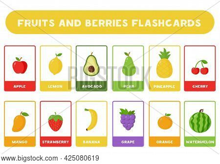 Flashcards For Kids With Cute Cartoon Fruits And Berries. Educational Cards.