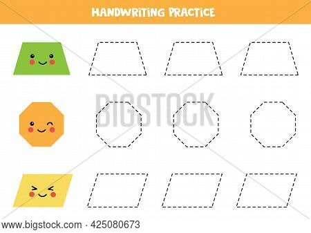 Tracing Contours Of Cute Trapezoid, Octagon, Parallelogram. Handwriting Practice For Children.