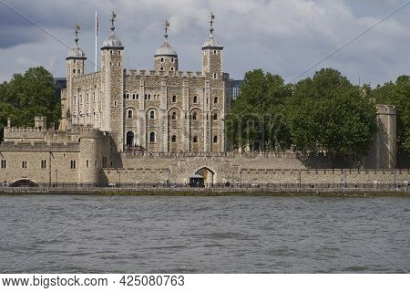 London, United Kingdom - June 25, 2021: Tower Of London. Historic Fortress On The Bank Of The River